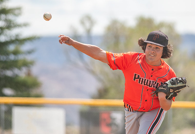 Kolt Flores pitches in a game earlier this season against the 406 Flyers. Flores went nine innings on Sunday, earning a complete-game win while allowing just four hits.