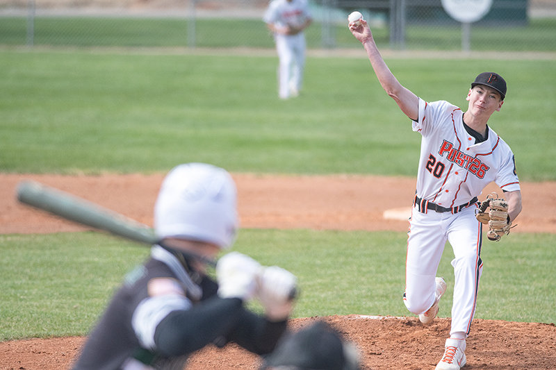 Trey Stenerson pitches in the Pioneers' game against the 406 Flyers earlier this year. The Pioneers were excellent on the mound over the weekend, propelling them to two wins at the Roy Peck Wood Bat Tournament.