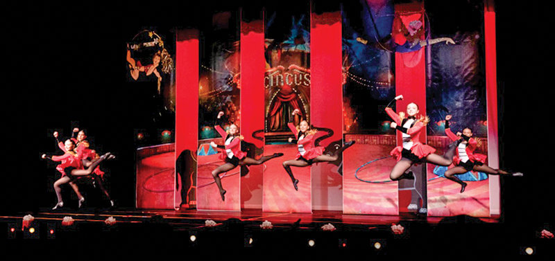 Demi Danovsky, Anne Aguirre, Peyton Hamilton, Anna Smith, Caitlin Belmont and Ravin Tobin perform a routine at 'The Greatest Show.'