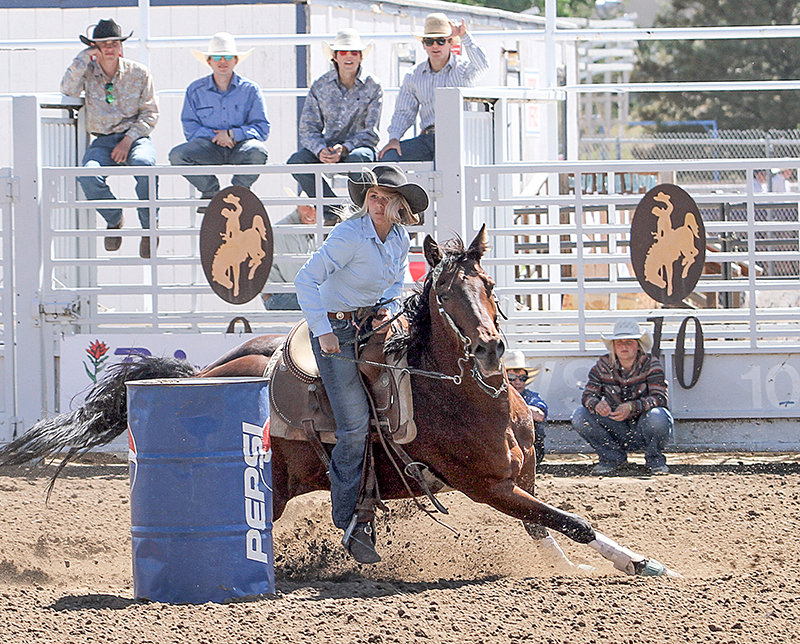 Caytlen Vineyard of Powell rounds a barrel during the Wyoming High School Finals Rodeo in Douglas on June 10. Vineyard took 17th in the event, being among four competitors from Park County.