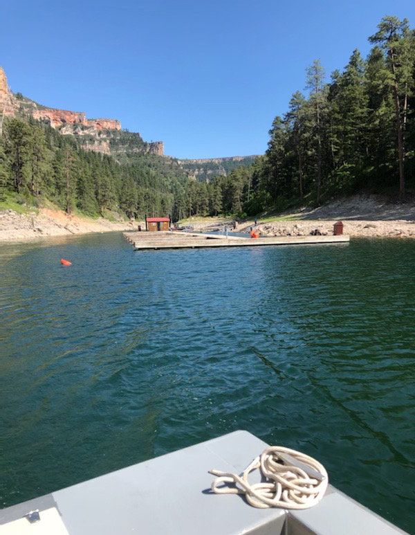 The docks and floating comfort station at the Black Canyon campsite are in at Bighorn Canyon National Recreation Area, though the low water has created a short wade to the campground.