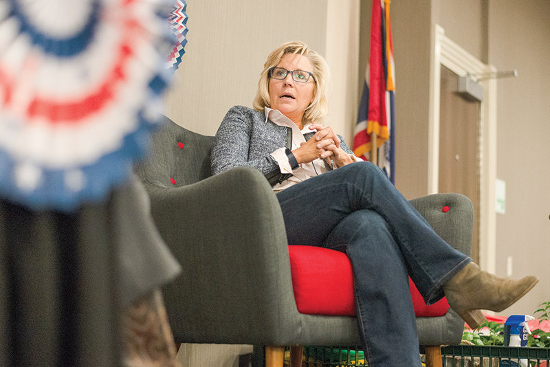 Rep. Liz Cheney will serve on a select committee investigating the Jan. 6 insurrection. The Wyoming Republican is pictured at an event in Cody in 2018.