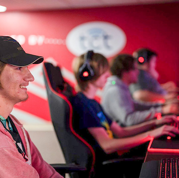 Joined by other competitors and video game enthusiasts, Overwatch alternate Landan Ohmdal plays during the Northwest College gaming center's open house in September.