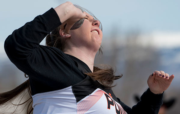 Lady Panther Rachel Bonander competes in the shot put Saturday at the Rocky Mountain Invite in Cowley. Tribune photo by Mark Davis