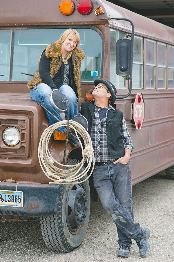 April Jones and Todd Evans — president and vice president of the Yellowstone Burners — have been working on collaborative art projects for years and are now attempting a 30-foot tall saddle and saloon 'art car,' using a former school bus they purchased in Powell. They're looking for creative people to help with the build.