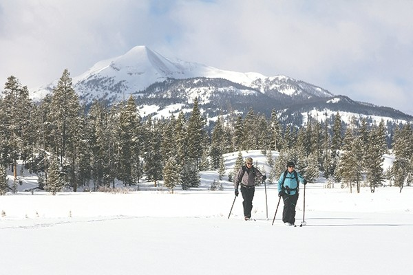 Cross country skiers move through the snow near Indian Creek in Yellowstone National Park this winter. State lawmakers want to start a conversation about assessing a fee in Yellowstone and Grand Teton national parks that would help cover the costs of managing wildlife in Wyoming, Montana and Idaho.