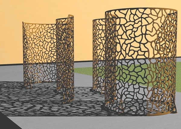 This rendition shows approximately how 'Infinite Pattern Esses' will look when the sculpture is installed on the lawn in front of the NWC Yellowstone Building this spring. The sculpture proposal was chosen for its size, its abstract nature and the way the sun and viewers can interact with it.