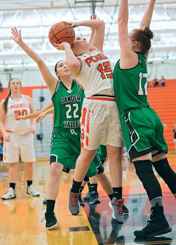 Powell High School junior Katie McKenzie makes a jump shot during a Saturday home win over Lander. In the game, McKenzie had six rebounds, three assists and four steals.