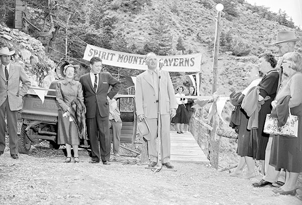 Claud Brown speaks at the opening ceremony of Spirit Mountain Caverns on Sept. 16, 1957. Photo courtesy Jack Richard Photograph Collection, Buffalo Bill Center of the West