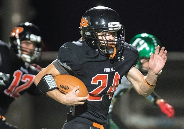 Powell's Josh Wolfe (24) runs back a fake punt for a 63-yard touchdown in the third quarter of Friday's home game against Green River. It was the Panther's sole touchdown in the 26-7 loss.