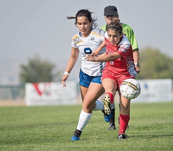 Lady Trapper Frankie Cervantes boots the ball down the field Saturday versus Western Nebraska Community College at Trapper Field. NWC fell to the Lady Cougars 3-1.