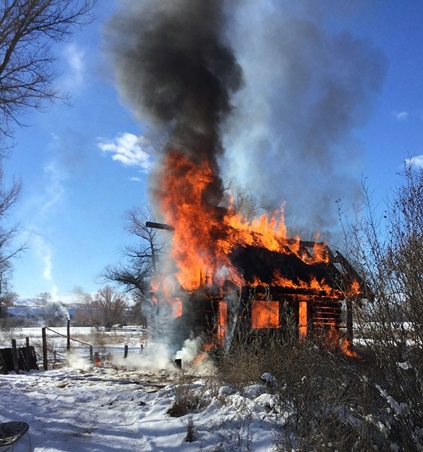 A small cabin built by our son-in-law, Warren Cheatham, went up in flames on Dec. 28. Thankfully, no one was in the cabin at the time. The cause of the fire is unknown.