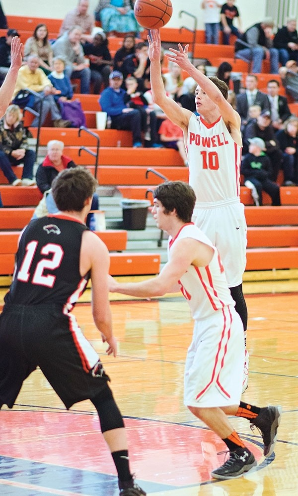 Powell High School senior Kaden Moore totaled 24 points and 14 rebounds during three games at the Class 3A West Region Tournament in Star Valley over the weekend.