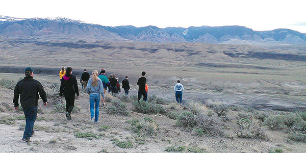 PHS students had to hike roughly 4 miles roundtrip to retrieve their weather balloon, which landed in Big Horn County. Courtesy photo