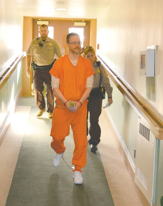 Park County Detention Center deputies escort Jesse P. Speer in the Park County Courthouse on Tuesday afternoon, shortly before he was sentenced to life in prison plus 30 to 50 years.