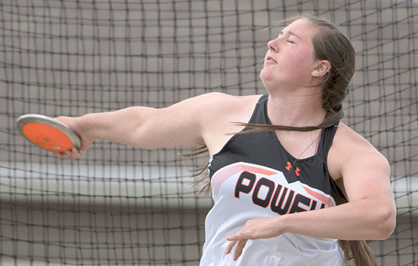 Lady Panther junior Rachel Bonander shows good form en route to a seventh-place finish in the discus on Friday in Casper. Tribune photo by Mark Davis