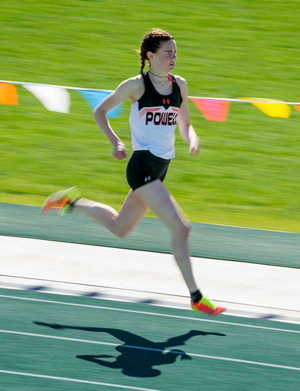 Lady Panther JuliaKay O'Neill finds her stride during the 800 meter run Friday. O'Neill earned All-State honors with a second-place finish. Tribune photo by Mark Davis