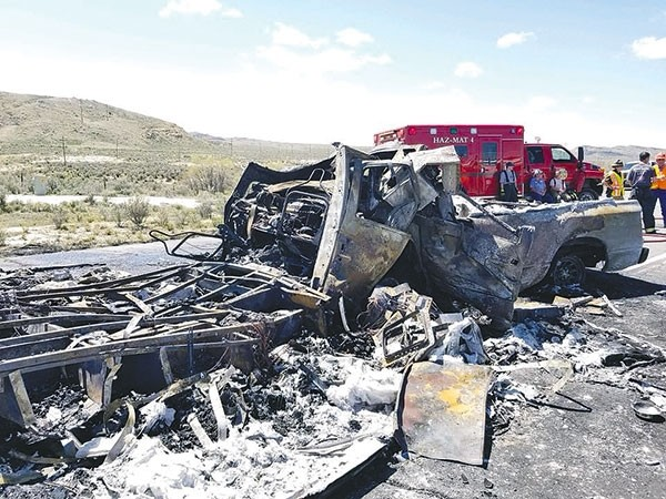 Three people were killed in a head-on collision between a Dodge pickup and Winnebago on Wyo. Highway 120 Tuesday afternoon. Both vehicles were fully engulfed in fire upon impact, according to the Wyoming Highway Patrol.