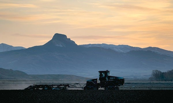 With Heart Mountain as a backdrop, a farmer in the Willwood area plows his field at sunset on Friday. Colder and wetter-than-normal weather has delayed planting for area farmers this year.