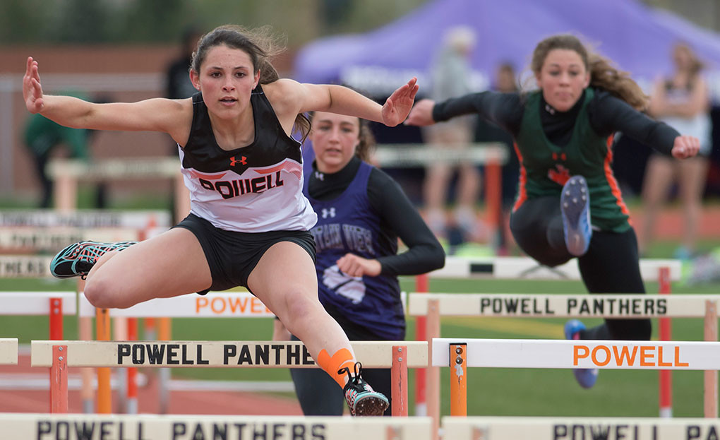 Lady Panther Sabrina Shoopman, seen here competing in the 100 meter hurdles this season, won silver in the 300 meter hurdles at the Wyoming State Meet last month.