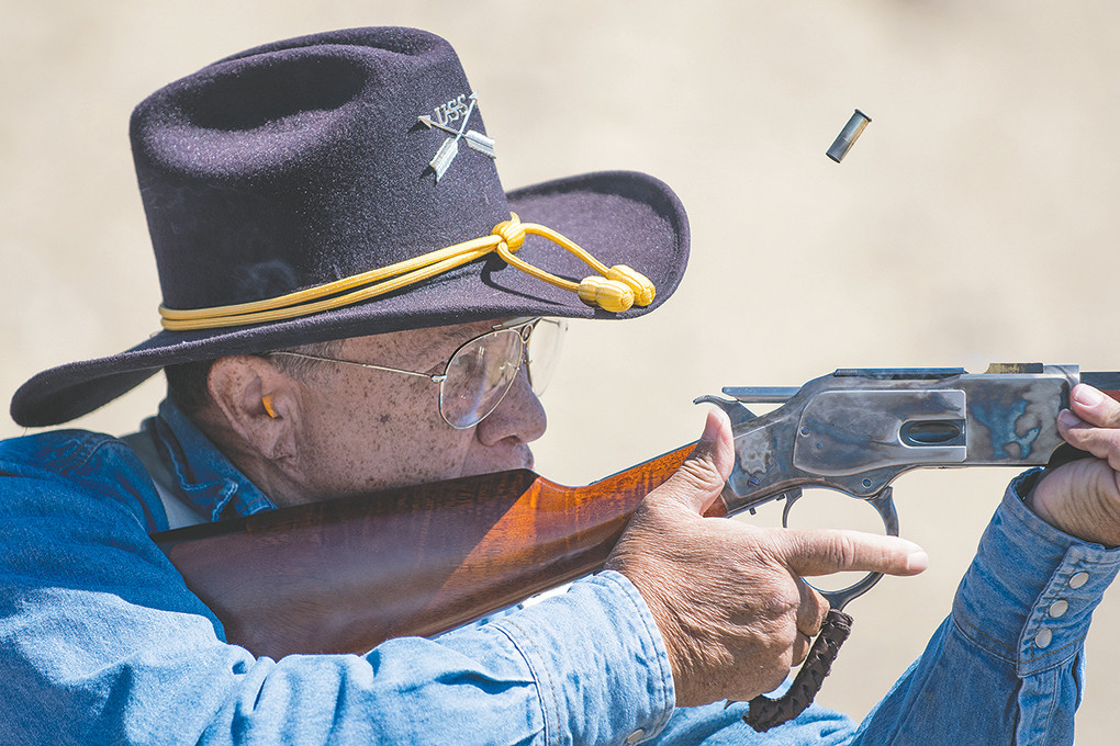 Mark Spencer of Lovell fires his rifle during the second stage of the June competition of the Colter's Hell Justice Committee event at the Heart Mountain Rod & Gun Club in Powell.