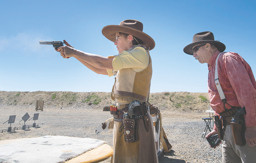 Susan Watkins, a.k.a. Buckskin Lily, finished second overall during a June 2 competition of the Colter's Hell Justice Committee chapter of the Single Action Shooting Society at the Heart Mountain Rod & Gun Club in Powell.