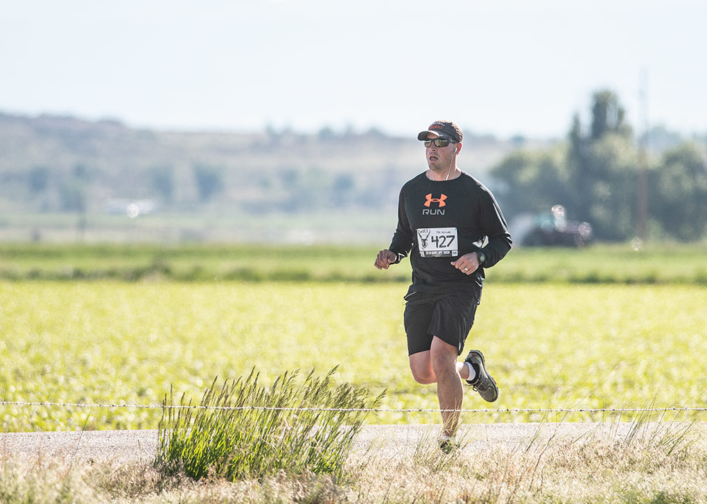 Chanler Buck sets a quick pace during the 10K portion of the seventh annual Dano'lope' Dash Saturday, June 2.