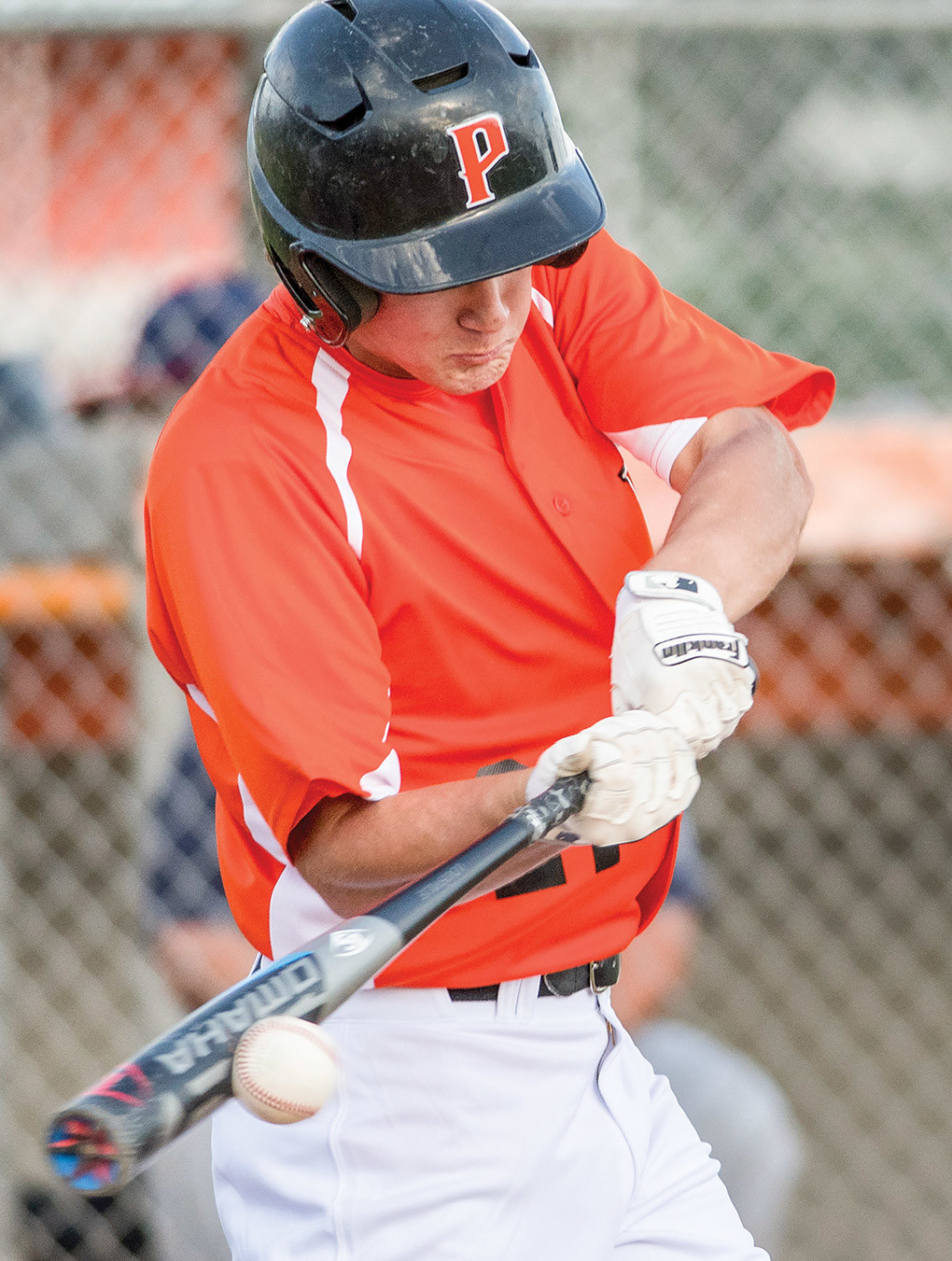 Powell Pioneer Garrett Stutzman smacks a hit Friday night against Casper at Ed Lynn Memorial Field. Casper won the game 16-3 in seven innings.