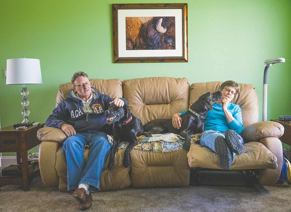 Rich and Bobbie Hostetler and their dog Darcy (at left) welcomed Jada (at right) into their home after the Hostetlers saw a picture of the Lab mix in last year's Tribune Tails special edition.