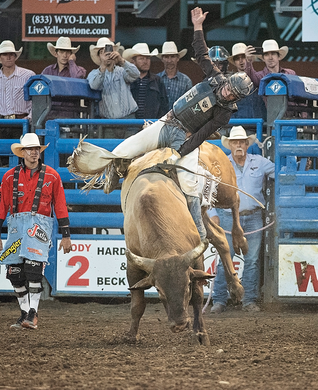 Boudreaux Campbell pulls himself back to center to finish the 8 seconds with a 90-point ride and earn the top spot for the night. Xtreme Bulls kicks off five days of PRCA rodeo action in Cody, going through Wednesday. Campbell is currently 10th in PRCA's Xtreme Bulls standings.