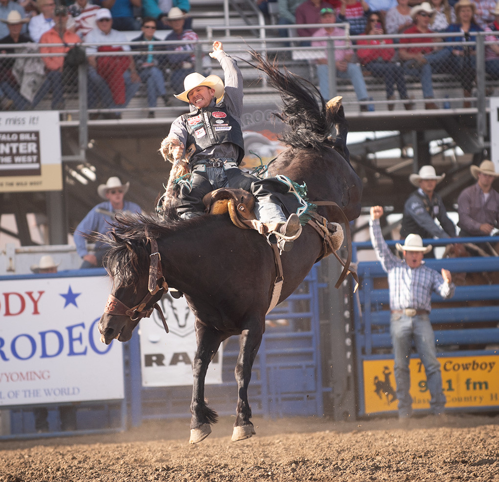 Jacobs Crawley of Boerne, Texas reaches the 8-second buzzer during his saddle bronc ride Wednesday evening, but didn't earn enough points to put him in the money. Crawley finished fifth in the 2017 world standings in saddle bronc riding.