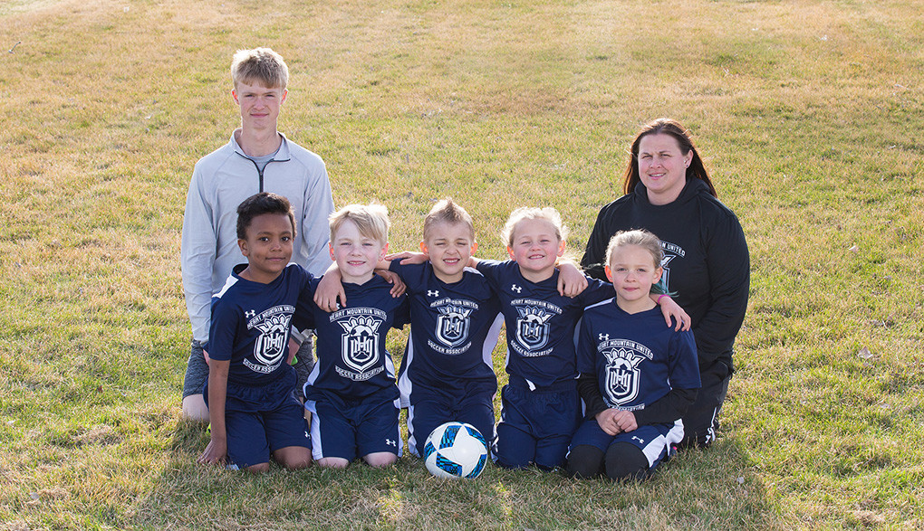 8U Coed-  Back row (from left): coaches Lane Franks and Callee Erickson; front: Jayden Stanonik, Levi Rogers, Reese Oulette, Jersee Erickson and Kindyle Floy.