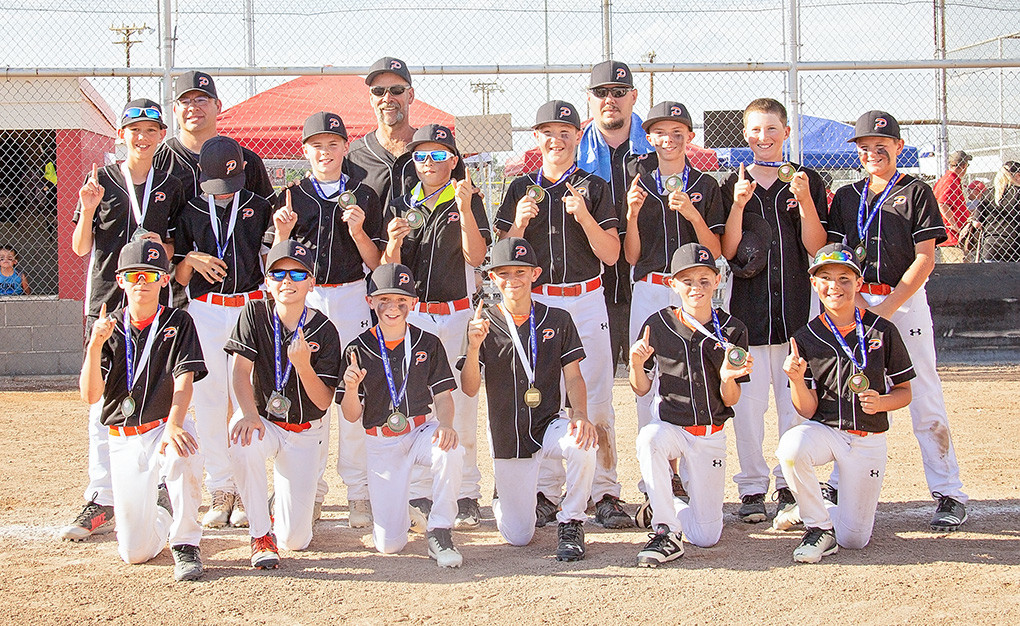The 2018 Powell All-Stars 12U team is pictured with their championship medals from the Battle at the Winds Tournament in Riverton. Pictured from left are, back row: Coaches: Brian Orr, Heath Worstell and Mike Gibson; middle row: Jacob Gibson, Dalton Worstell, Brock Johnson, Keona Wisniewski, Jhett Schwann, Isaiah Woyak, Cade Queen and Alex DeBoer; bottom row: Dillon Payne, Jacob Orr, Brody Payne, Treyson Norris, Rayce Degraffenried and Ethan Welch.