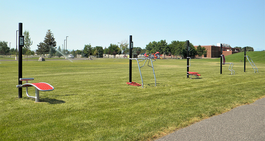 The five fitness stations are located at the northeast corner of Homesteader Park, between the rest area and the softball fields.