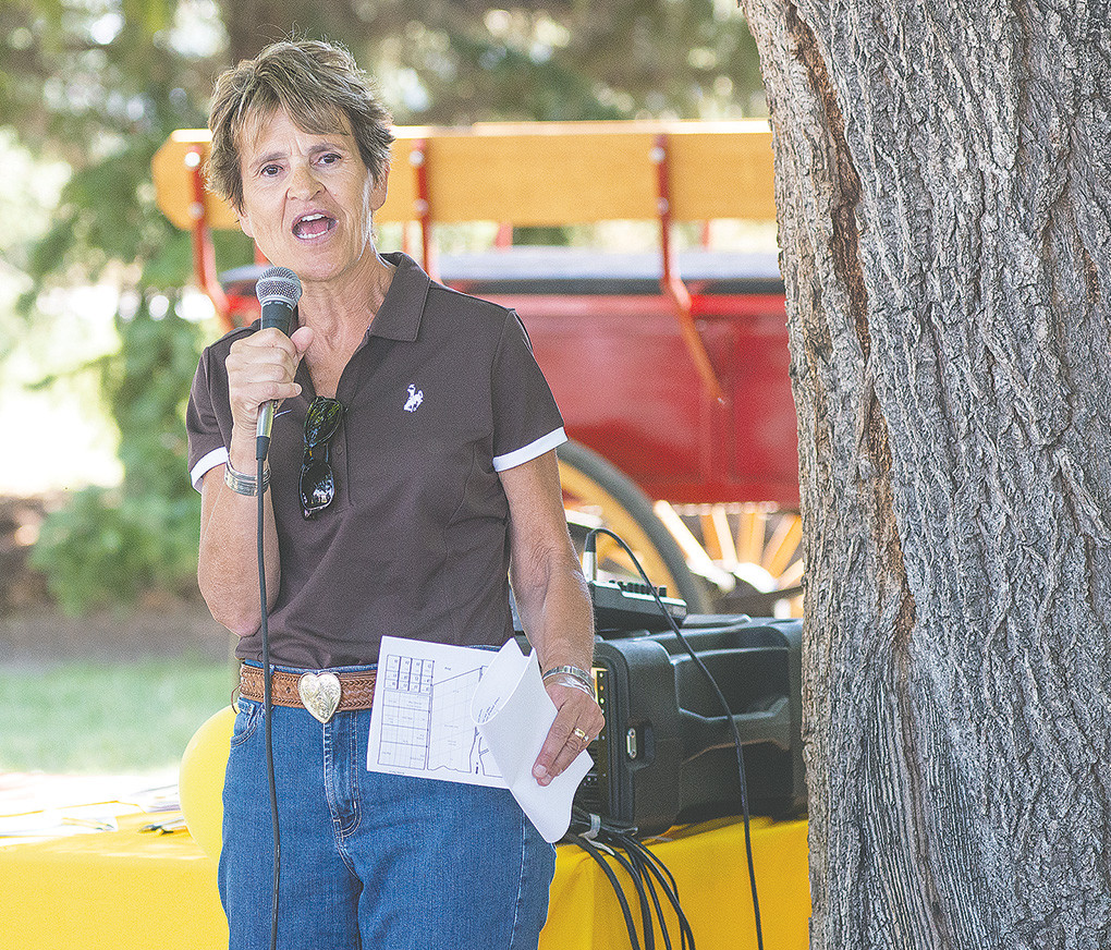 University of Wyoming President Laurie Nichols addresses attendees at the University of Wyoming's Powell Research and Extension Center field day last Thursday.