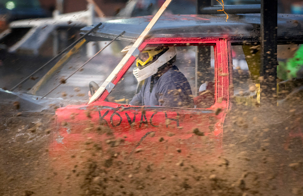 Travis Kovach tears it up in Saturday's finals in car No. 6. Kovach won the first heat of the limited weld class. In 2017, Kovach placed sixth overall in the fair derby.