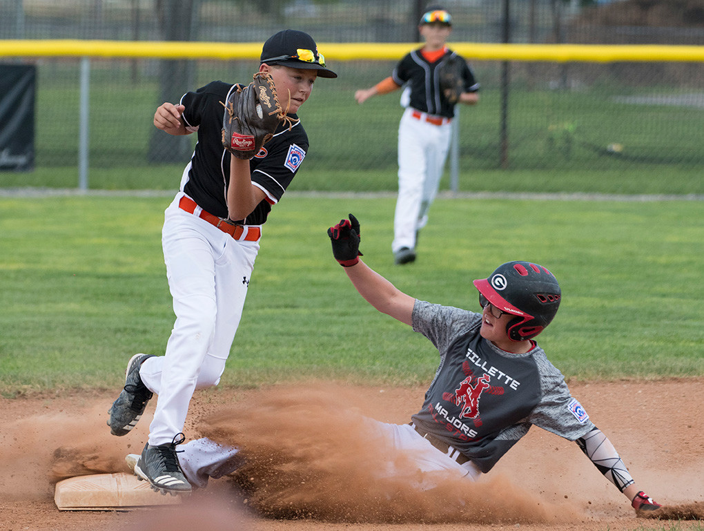 Powell Majors All-Star Alex DeBoer gets a force out on a Gillette baserunner during the 2018 Wyoming Little League State Tournament in Powell. Gillette won Friday's game 7-1 to advance to the championship game against Cody.