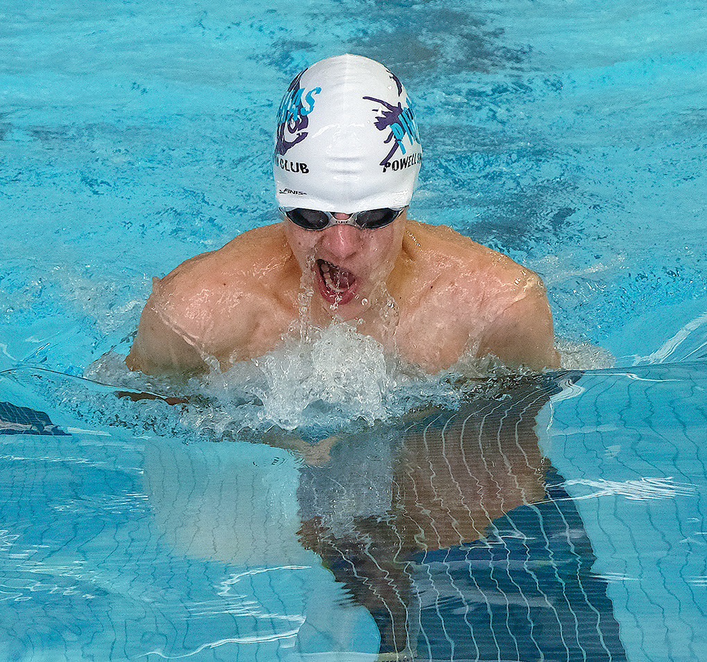 Nate Johnston, 14, swims the 200 breaststroke at the Wyoming Summer Long Course Championship Swim Meet held recently in Gillette. Johnston finished the event in third place.