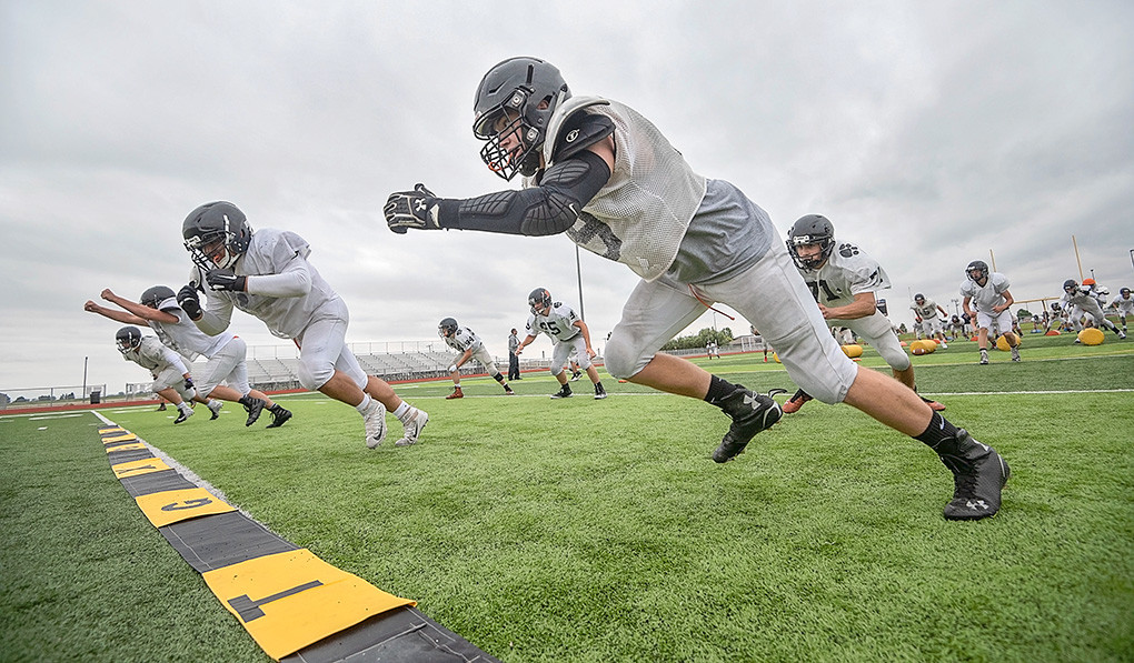 The Panther football team is preparing for their first game Friday at Panther Stadium. From right, Ryan Good, Duy Hoang, Carter Olsen and Carson Heinen, along with second row, from right, Brody Karhu, Kadden Abraham and Seth Horton work on drills at Tuesday's practice.