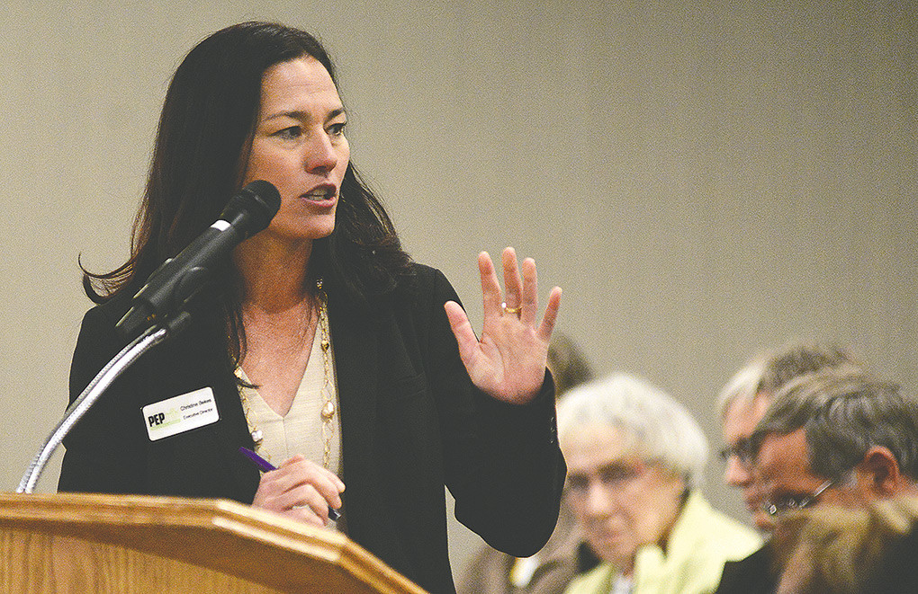 Christine Bekes, executive director of Powell Economic Partnership, speaks to the Wyoming Business Council on Thursday morning in Cody in support of a proposed hotel/conference center.