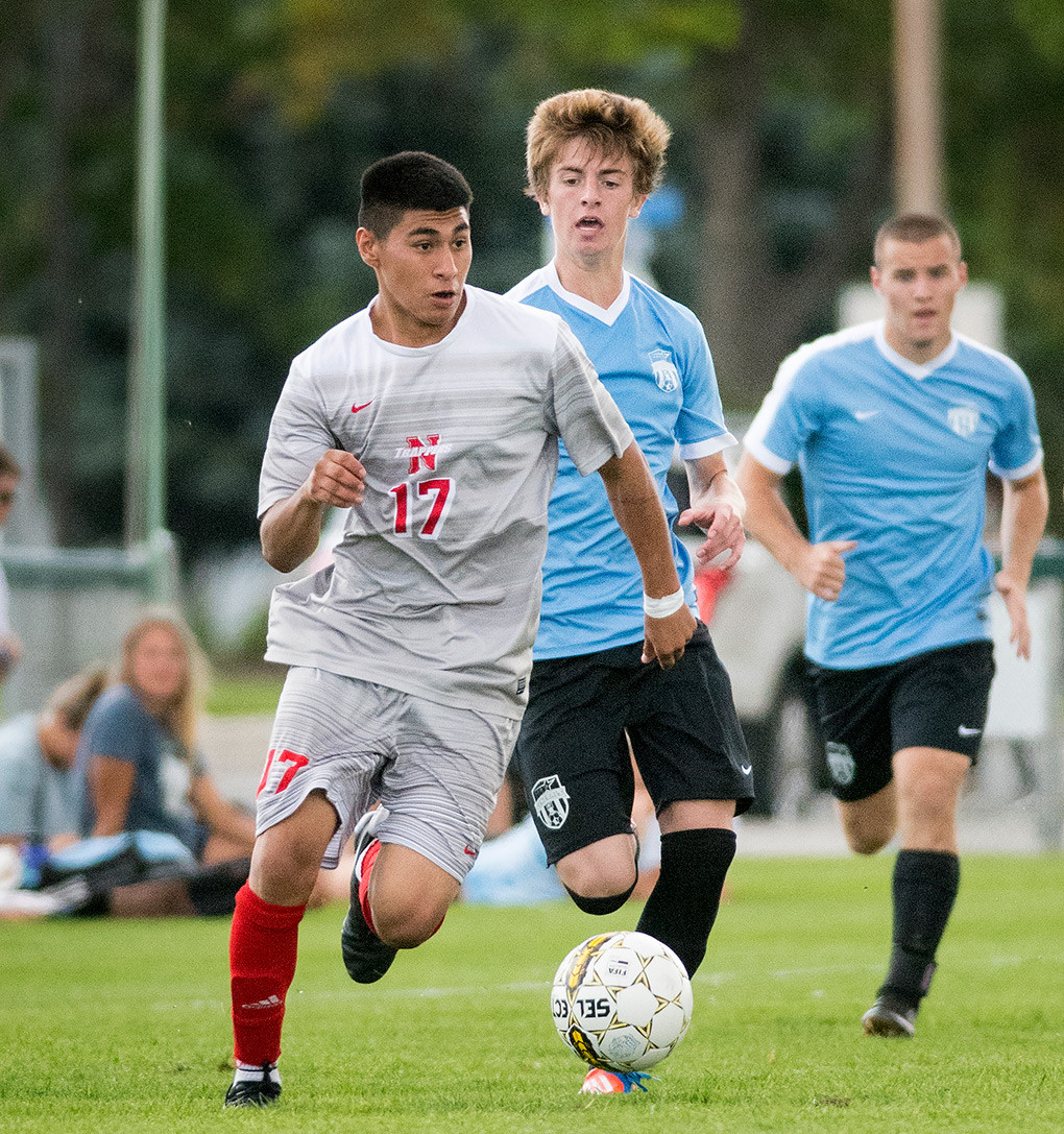 Trapper midfielder Jonathan Reynoso looks for an open teammate Saturday against Sheridan at Trapper Field. NWC battled the Generals to a 1-1 tie in the Trappers' home opener.