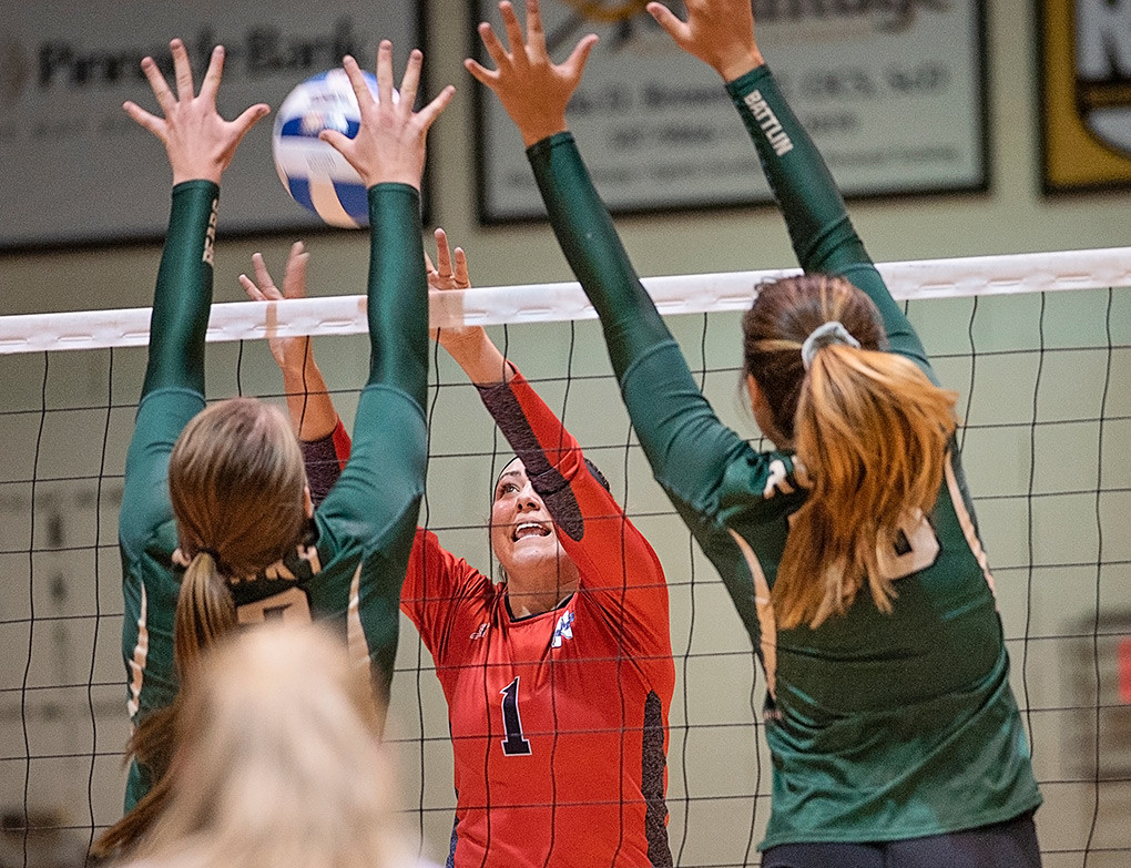 Northwest College setter Jess Ruffing sends the ball back to the opponents' side of the net during a game against Rocky Mountain JV earlier this season. The Lady Trappers finished 1-3 over the weekend at the College of Southern Idaho Invite in Twin Falls, Idaho.