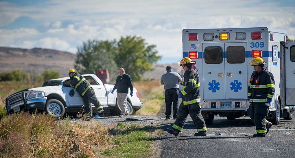 Personnel from the Powell Volunteer Fire Department and Powell Valley Hospital respond to a fatal crash on Lane 5 Tuesday morning.