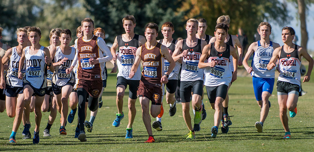 Powell runners Alan Merritt (bib 9900), Dylan McEvoy (9899), Jayden Yates (9901), Tyler Pfeifer (9905) and Joey Hernandez (9904) take off from the starting line Friday at the Powell Invitational at the Powell Golf Club. The Panthers finished third in the 11-team event.