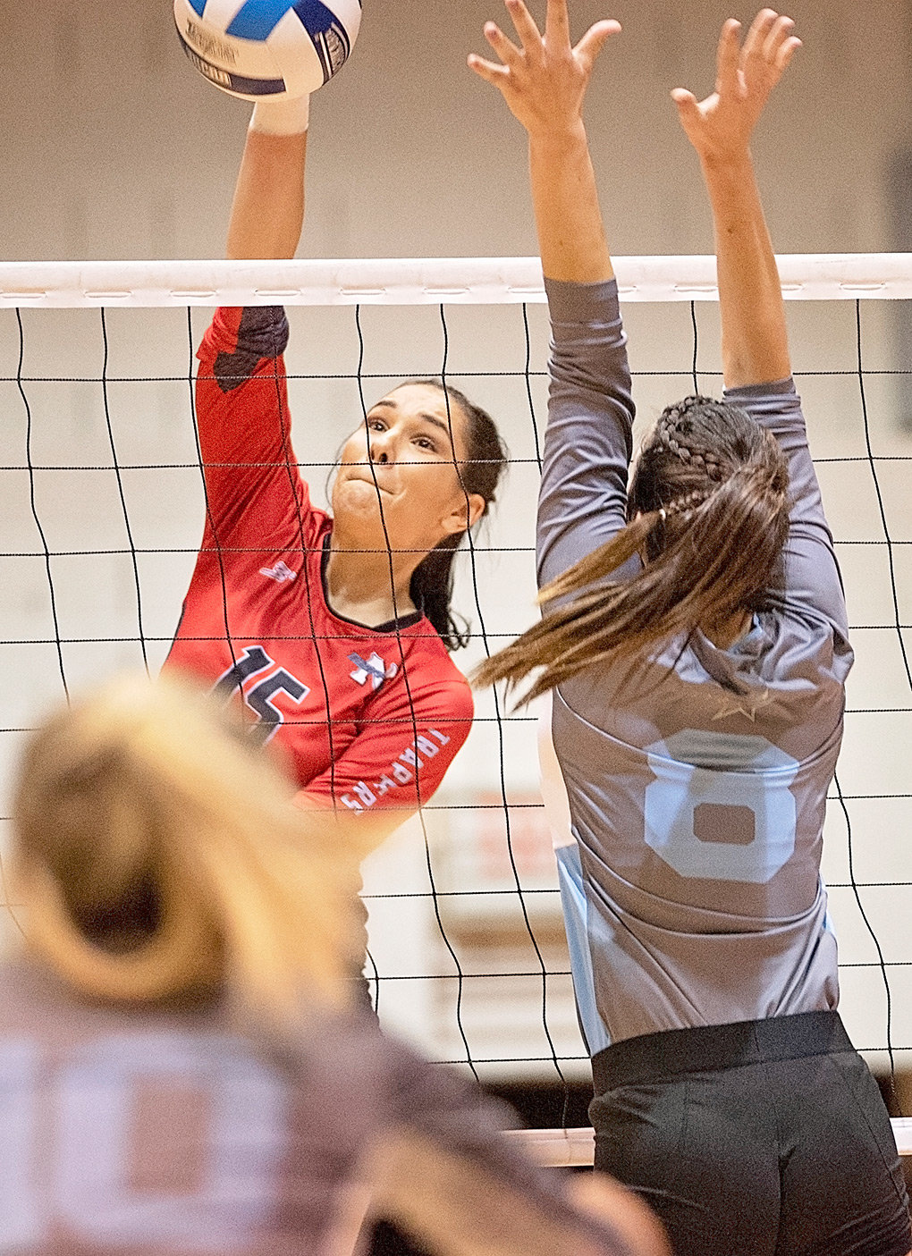 Lady Trapper outside hitter Eirini Matsouka goes up for a kill against Sheridan in a match at Cabre Gym earlier this season. Matsouka had 11 kills and 10 digs in a win over Western Wyoming Saturday in Rock Springs.