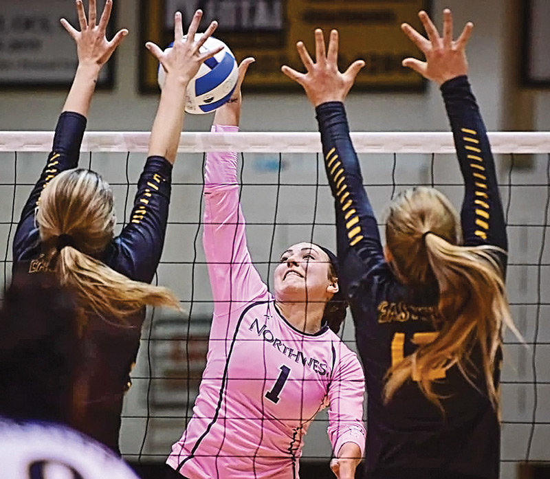 NWC sophomore setter Jess Ruffing goes up for a kill against Eastern Wyoming in a match at Cabre Gym earlier this season. The Lady Trappers went 1-2 at last weekend's Region IX tournament in Cheyenne, bringing an end to their season.
