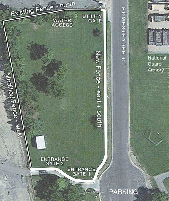 An aerial view of the proposed dog park.