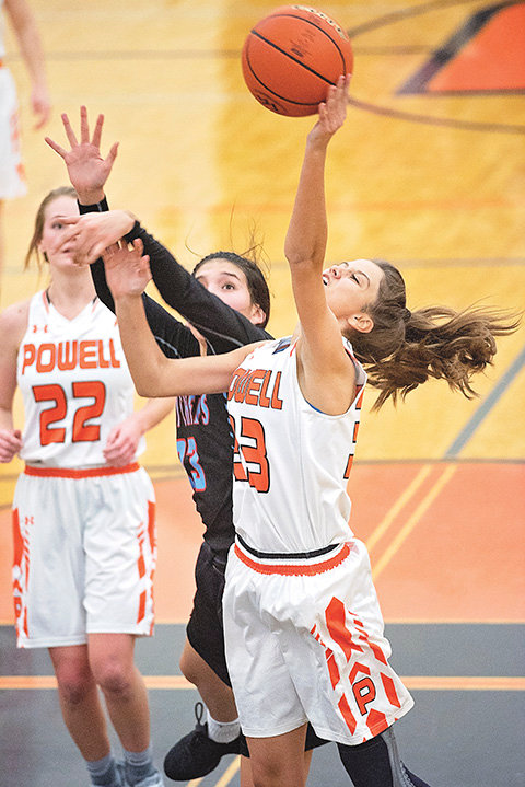Powell High School senior Brea Terry puts up a shot during the Lady Panthers' 47-34 loss to Wyoming Indian on Friday at home. The Powell girls will return to action on Jan. 4.