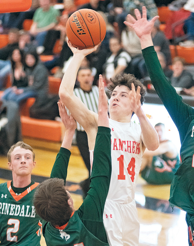 PHS sophomore Landon Lengfelder puts up a shot against Pinedale Friday at Panther Gym. The Wranglers won the game 55-46.