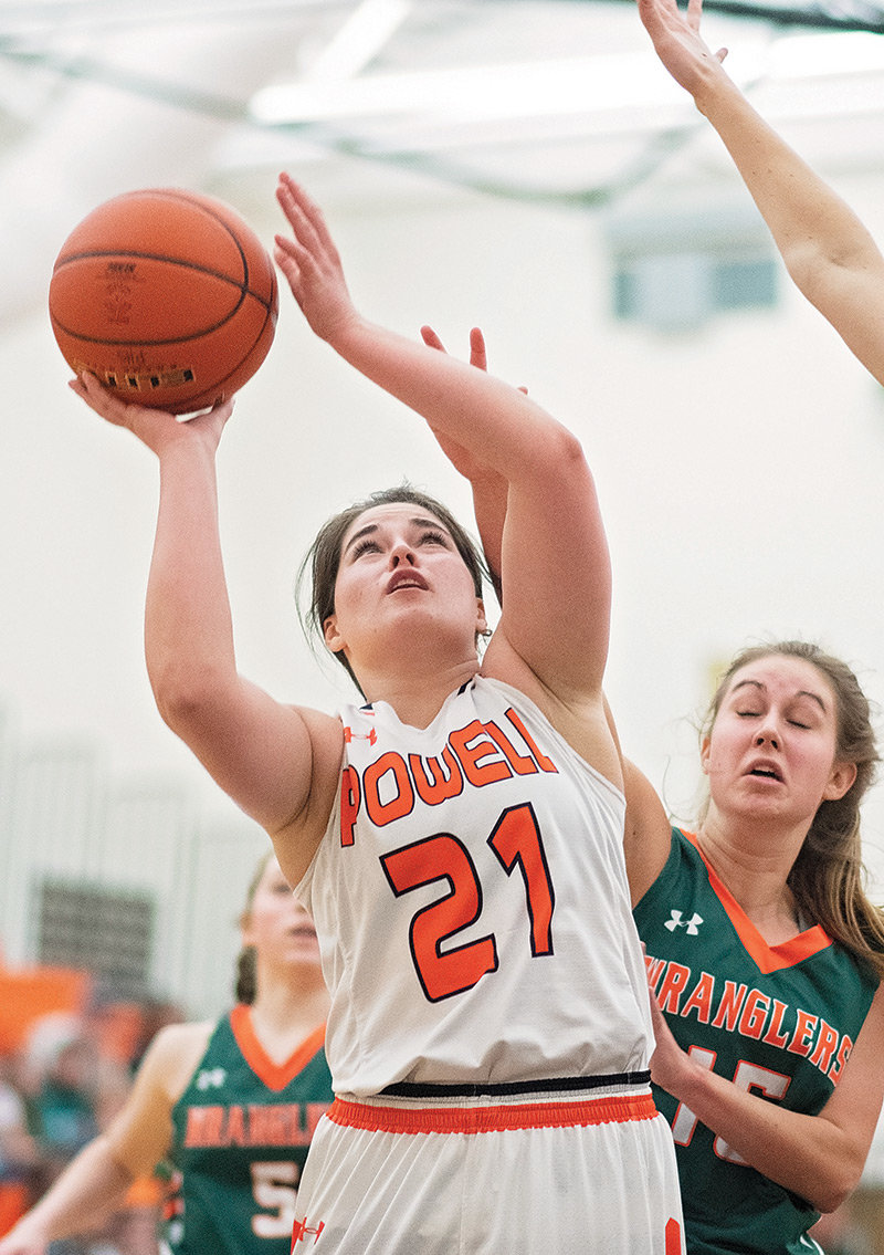 Powell's Jasmyne Lensegrav puts up a shot Friday against Pinedale at Panther Gym. The Lady Panthers are on a three-game win streak, downing Pinedale and Big Piney over the weekend.